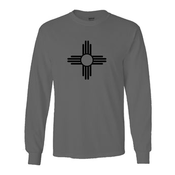 """ZIA"" Symbol Long Sleeve Adult Tee - Gray with Black Zia"