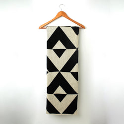 Throw Blanket or Wrap - Reverse - Black & Linen