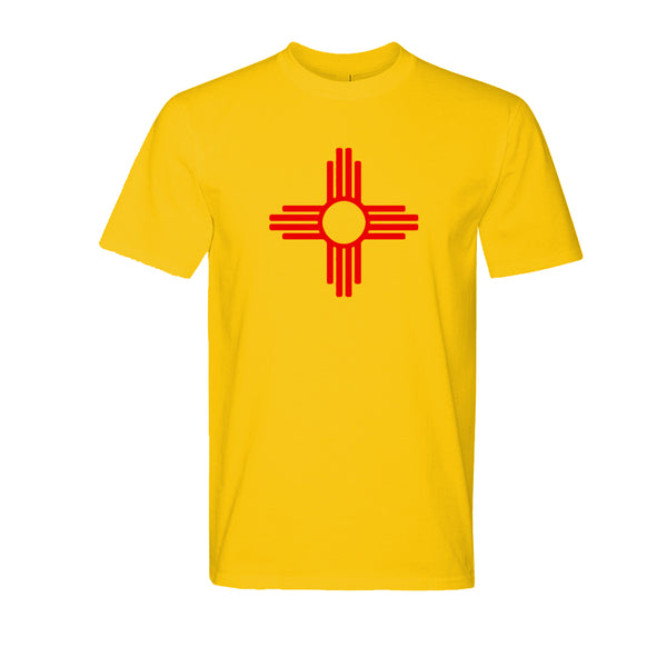 """ZIA"" Symbol Short Sleeve Adult Tee - Gold with Red Zia"