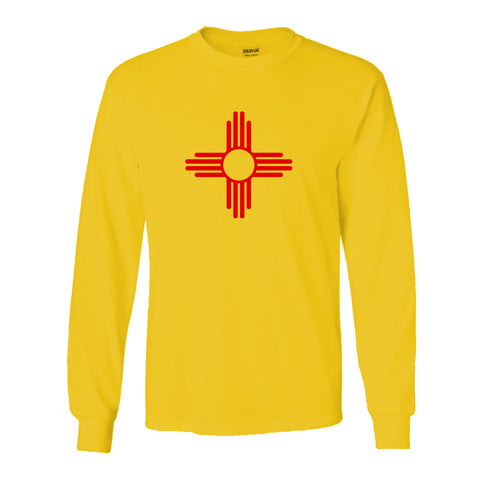 """ZIA"" Symbol Long Sleeve Adult Tee - Gold with Red Zia"
