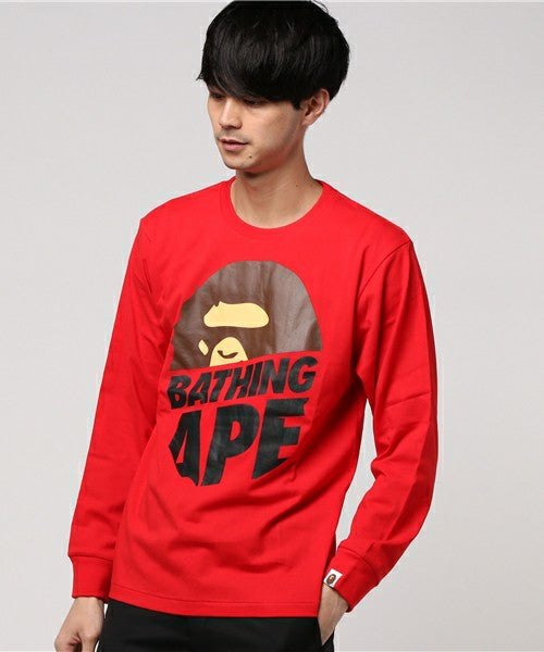 Peek Big Ape Head L/S Tee (Red) - Bape