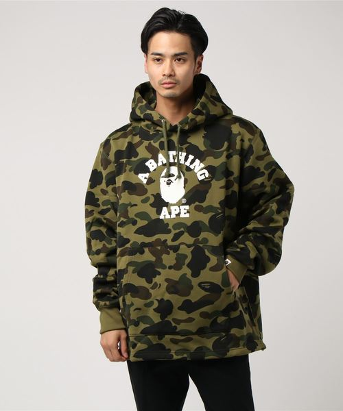 1st Camo College Wide Pullover (Dark Green) - Bape