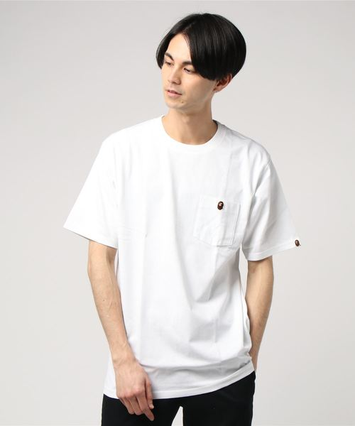 Ape Head One Point Pocket Tee (White) - Bape