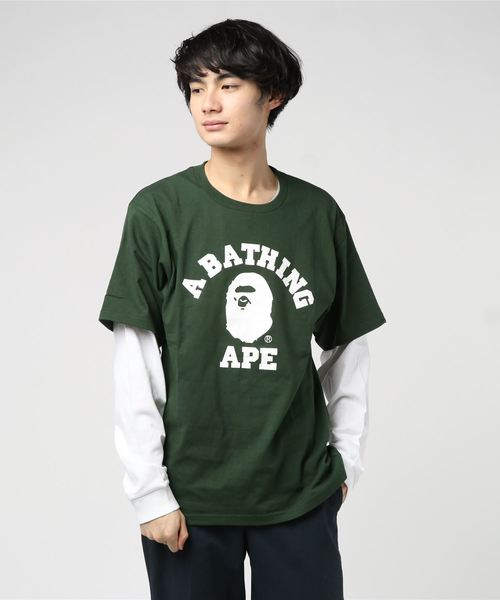 College Layered Long Sleeve (White/Green) - Bape