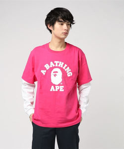 College Layered Long Sleeve (White/Pink) - Bape