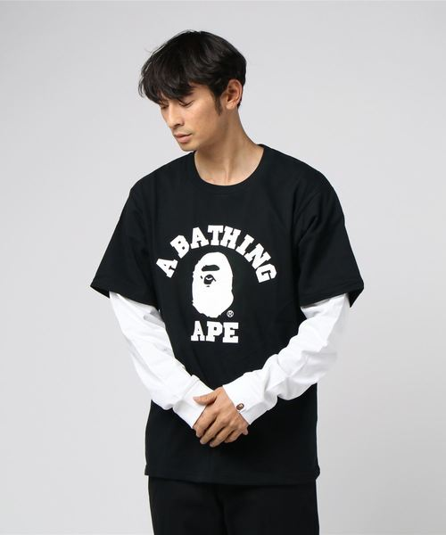College Layered Long Sleeve (White/Black) - Bape