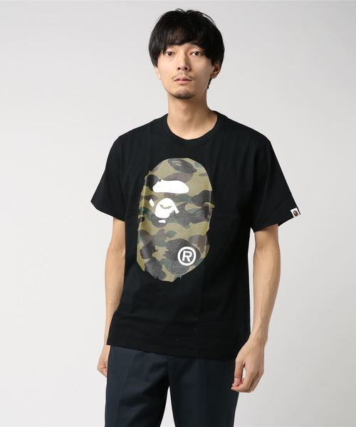 1st Camo Ape Head Tee (Black/Dark Green) - Bape