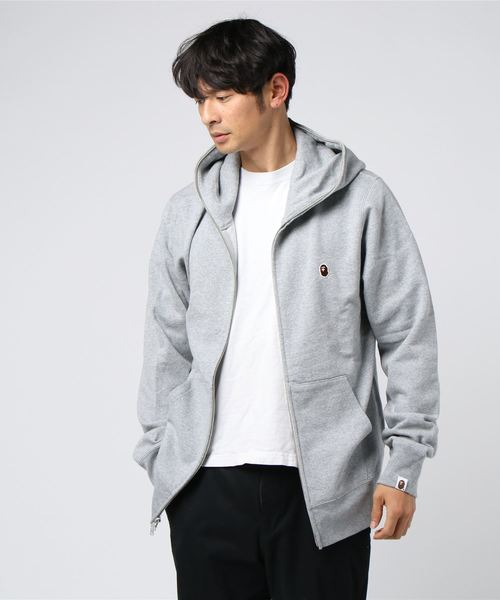 One Point Full Zip Hoodie (Grey) - Bape