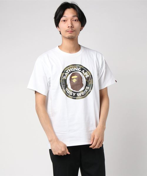 1st Camo Busy Works Tee (White/Green Camo) - Bape