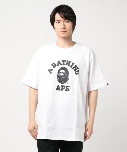 Color Camo College Tee (White/Black) - Bape