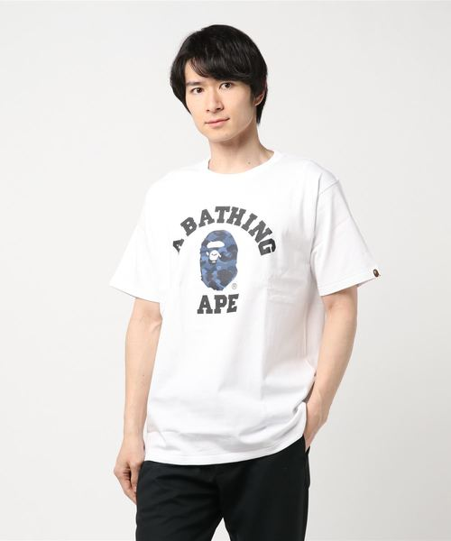 Color Camo College Tee (White/Blue) - Bape