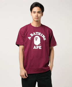 Bicolor College Tee (Burgundy) - Bape