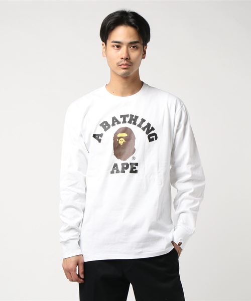 College Long Sleeve (White) - Bape