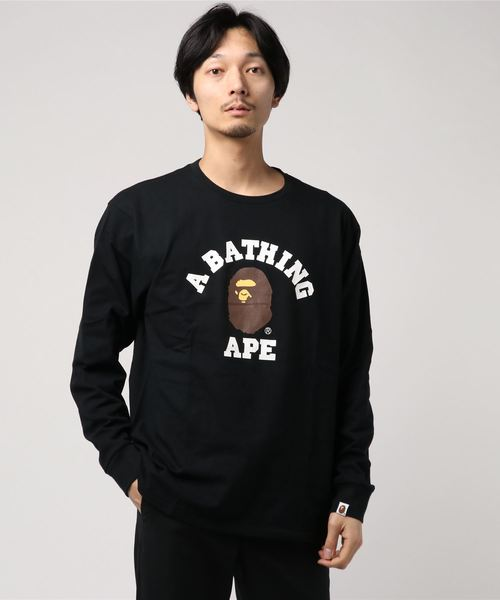 College Long Sleeve (Black) - Bape