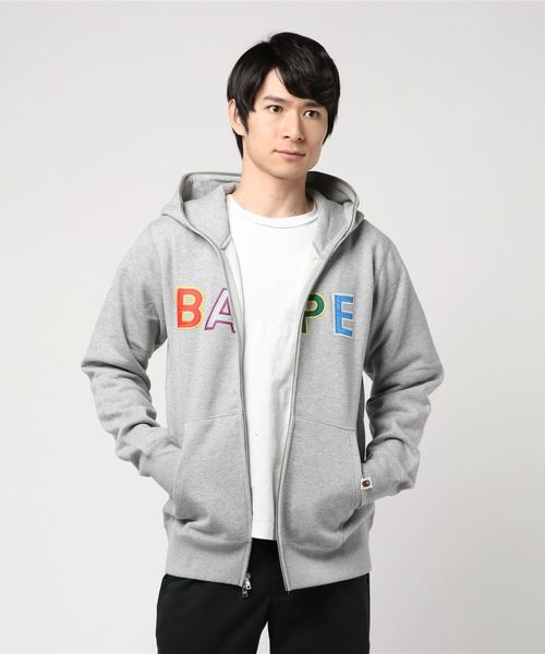 Bape Applique Full Zip Hoodie (Grey) - Bape