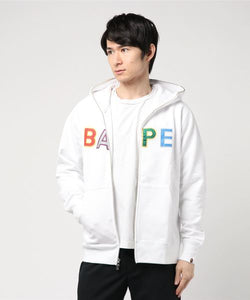 Bape Applique Full Zip Hoodie (White) - Bape
