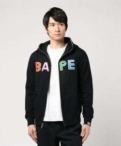 Bape Applique Full Zip Hoodie (Black) - Bape