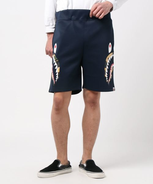 Double Knit Side Shark Shorts (Navy) - Bape