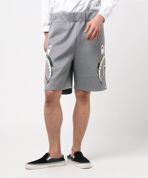 Double Knit Side Shark Shorts (Grey) - Bape