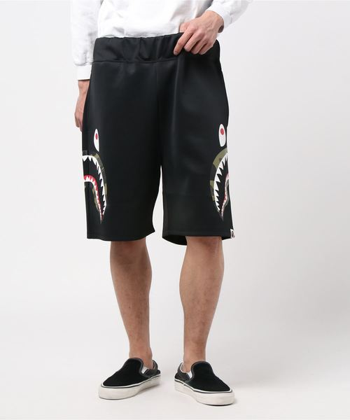 Double Knit Side Shark Shorts (Black) - Bape