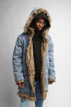 Denim Fur Trench Coat - C2H4 Los Angeles