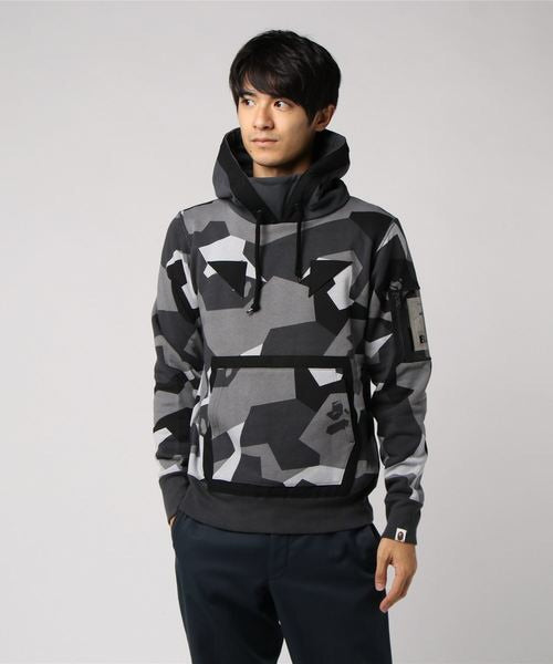 Splinter Camo Wide Pullover Hoodie (Black) - Bape