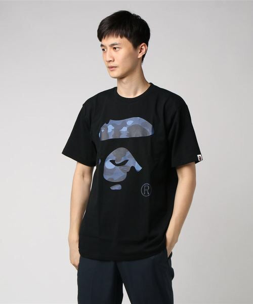 Color Camo Ape Face Tee (Black/Blue) - Bape