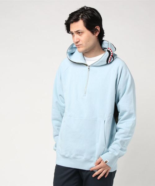 Shark Wide Half Zip Pullover (Light Blue) - Bape