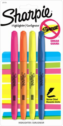 Sharpie Smear Guard Narrow Chisel Tip Highlighters