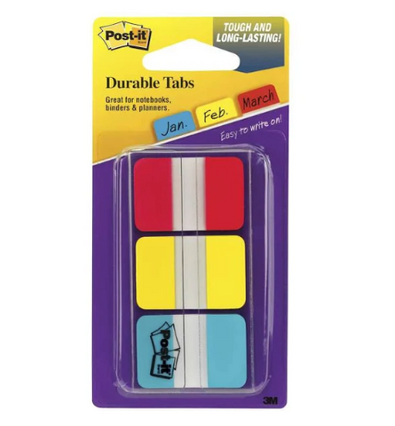 "Post-it Durable Tabs, 1"" x 1.5"", Red/Yellow/Blue - 3 pack, 12 tabs each"