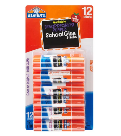 Elmer's Washable School Glue Sticks - 12 pk - Disappearing Purple