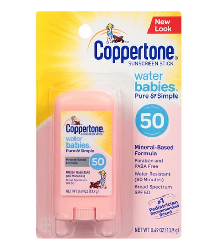 Coppertone Water Babies Sunscreen, Stick, Broad Spectrum SPF 50 - 0.49 oz