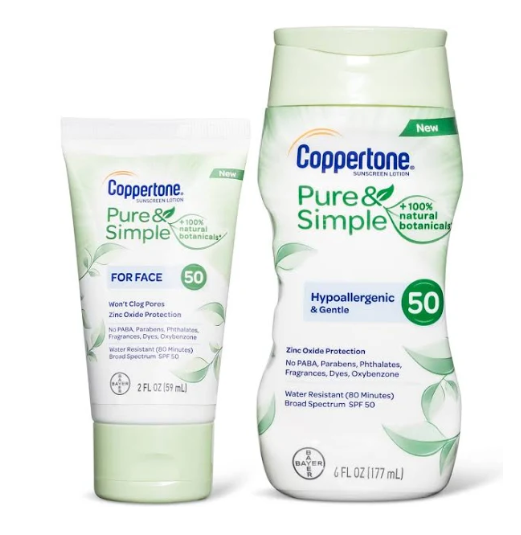 Coppertone Pure & Simple Baby Sunscreen Stick & Lotion SPF 50