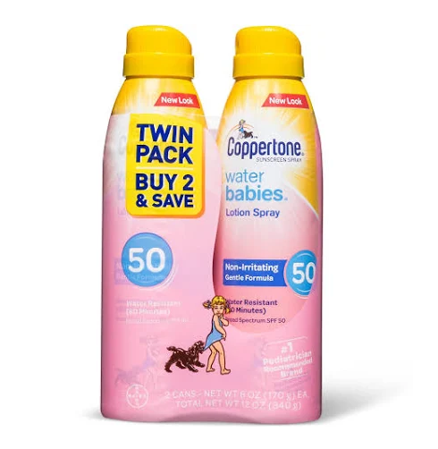 Coppertone Waterbabies Quick Cover Sunscreens Lotion Spray Twinpack - SPF 50 - 12oz