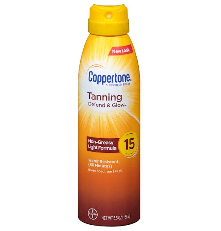 Coppertone Tanning Defend & Glow Spf 15 Sunscreen Spray 5.5 Fl Oz