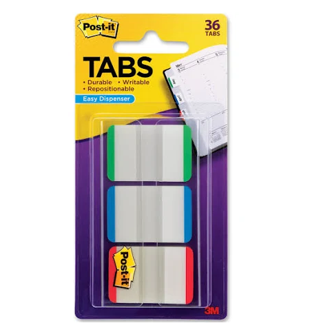 "Post-It On-The-Go Tab Dispenser, Green/Blue/Red, 1"" - 36 pack"