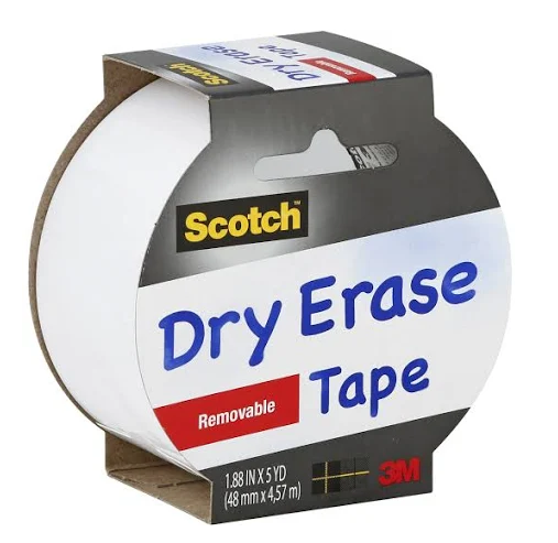 Scotch Tape, White Dry Erase , Removable