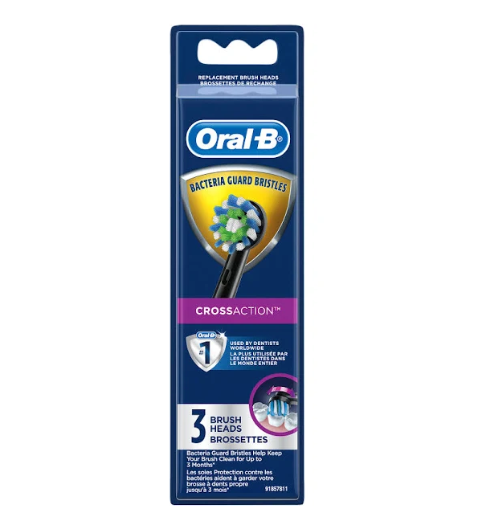 Oral-B CrossAction Electric Toothbrush Replacement Brush Head Refills, 3 Count, Black