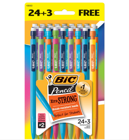 BIC® Mechanical Pencil Xtra Strong, Black, 24+3 Pack