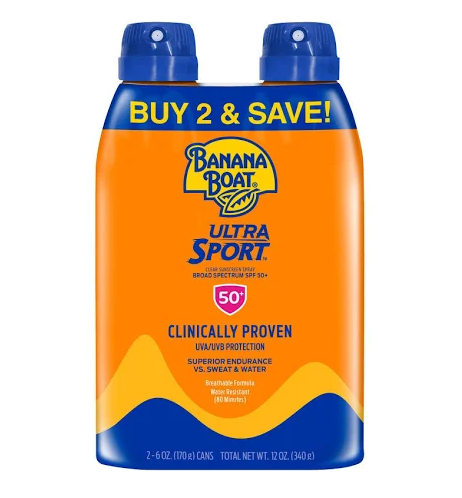 Banana Boat Ultra Sport Clear Spray Broad Spectrum Sunscreen - SPF 50 - 6oz - Twin Pack