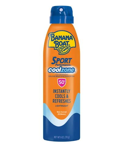 Banana Boat Sport Performance CoolZone Sunscreen, Continuous Spray, Clear UltraMist, SPF 50+ - 6 oz