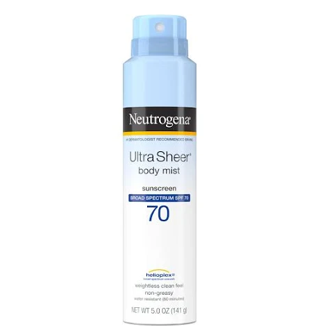 Neutrogena Ultra Sheer Sunscreen, Body Mist, Broad Spectrum SPF 70 - 5.0 oz
