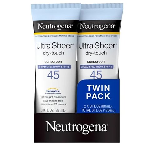 Neutrogena Ultra Sheer Dry-Touch Sunscreen Lotion, SPF 45 - 2 tubes, 3 fl oz
