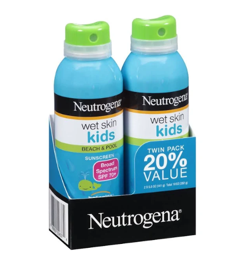 Neutrogena Wet Skin Kids Sunscreen Twin Pack, SPF 70+ - 2 pack, 5 oz bottles