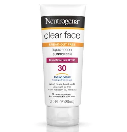 Neutrogena Clear Face Sunscreen Lotion, SPF 30 - 3 oz tube