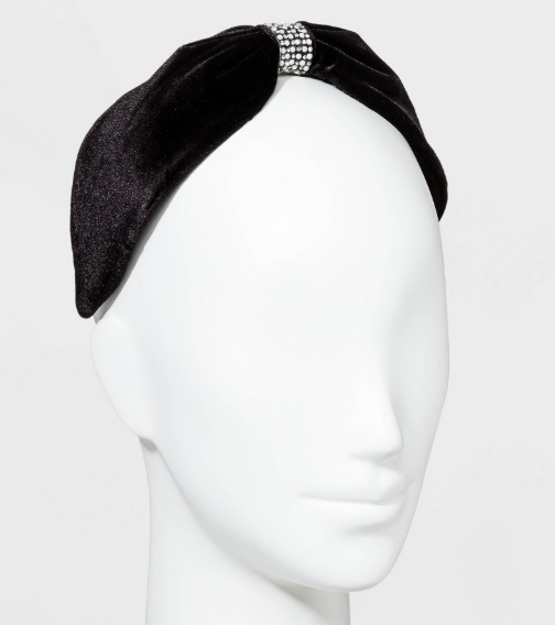 Wide Velvet Knot Front with Crystals Headbands - Black