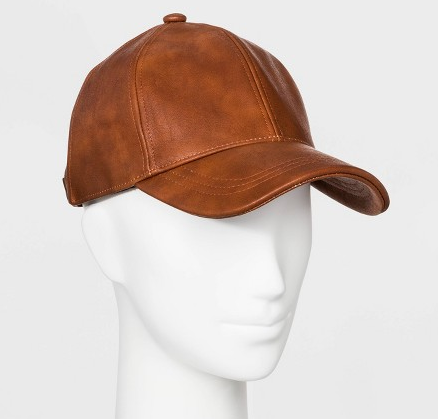 Women's Faux Leather Baseball Hat -  Brown