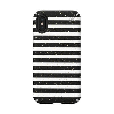 Speck Apple iPhone X/XS Presidio Inked Case - Striped Gold Speckled/Marble Gray