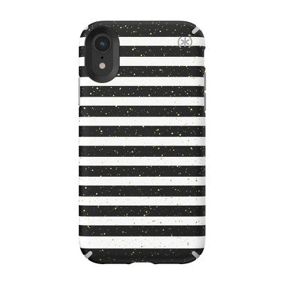 Speck Apple iPhone XR Presidio Inked Case - Striped Gold Speckled/Marble Gray