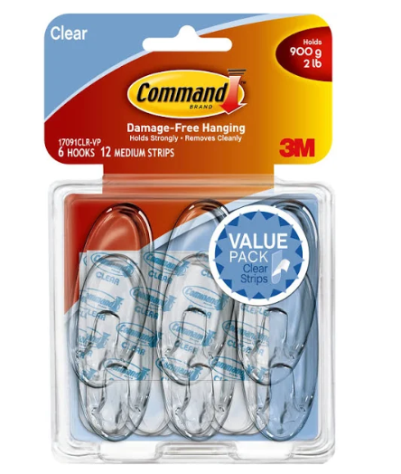 Command Damage-Free Hooks Value Pack - Clear